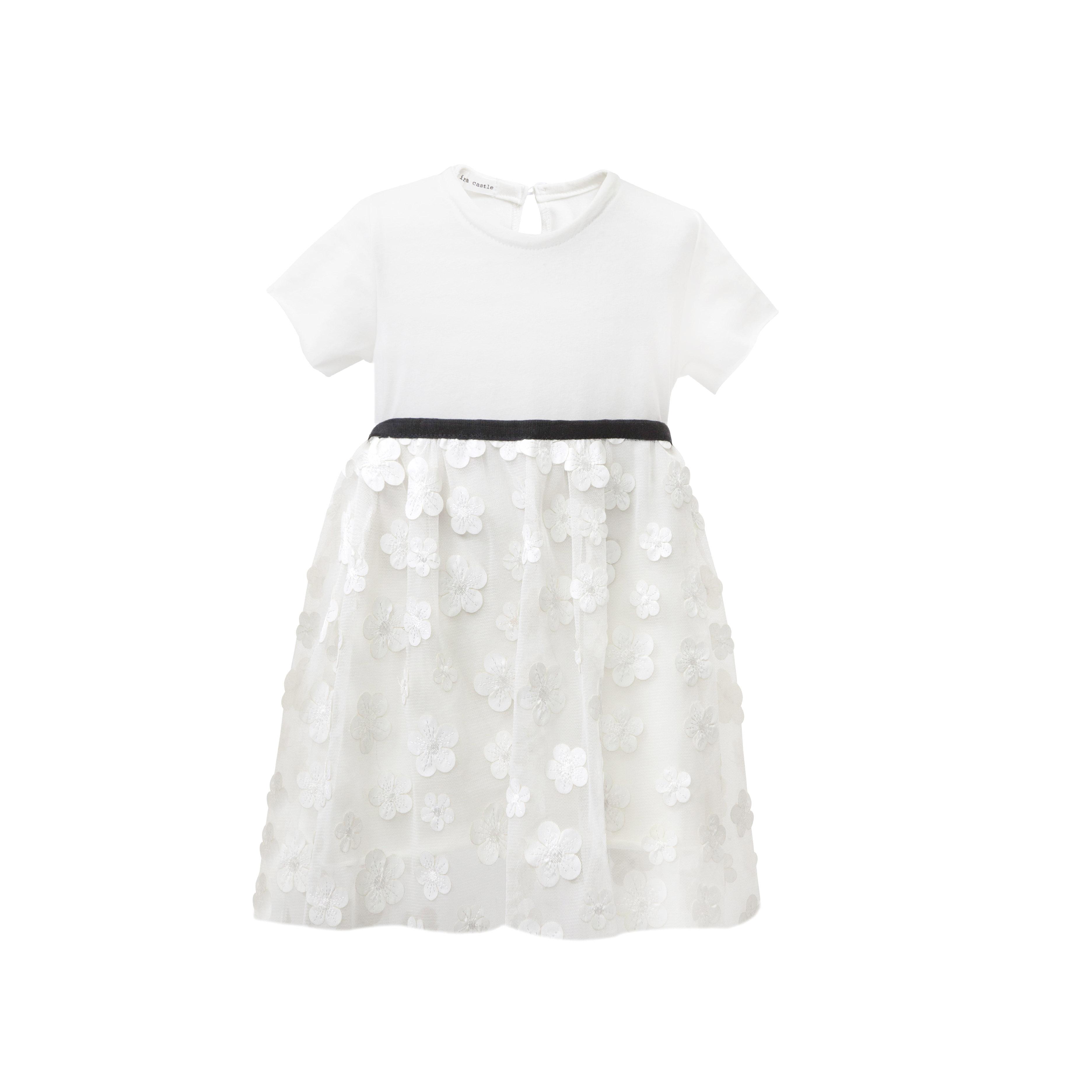 12084f2fdfba Φόρεμα λευκό με τούλινη φούστα και σχέδιο μαργαρίτες | Baby Love ...